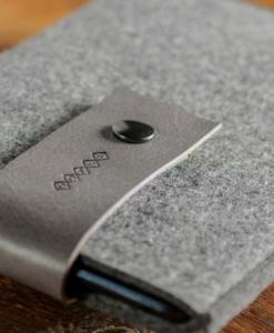 Handmade iPad mini Felt Case: Grey Wool Felt Grey Leather