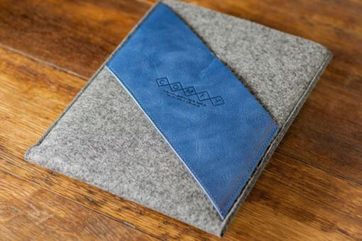 iPad Air Handmade Felt with Blue Leather Sleeve Case