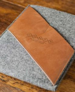 iPad Air Handmade Felt with Brown Leather Sleeve Case