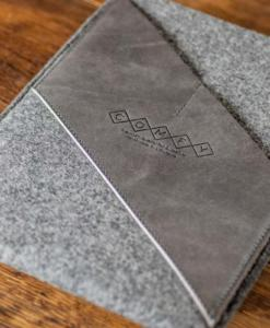 iPad Air Handmade Felt with Grey Leather Sleeve Case