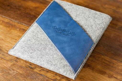 iPad Air Handmade Light Felt with Blue Leather Sleeve-Case