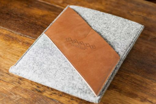 iPad Air Handmade Light Felt with Brown Leather Sleeve-Case
