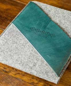 iPad Air Handmade Light Felt with Green Leather Sleeve-Case
