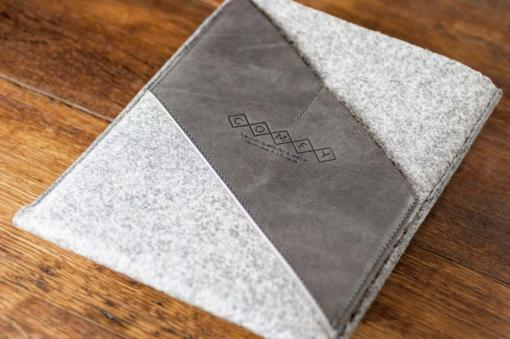 iPad Air Handmade Light Felt with Grey Leather Sleeve-Case