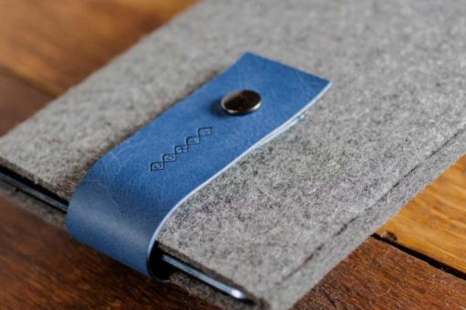Handmade iPad mini Felt Case: Grey Wool Felt Blue Leather