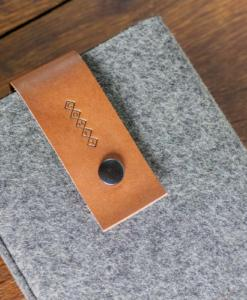 Handmade iPad mini Felt Case: Grey Wool Felt Brown Leather