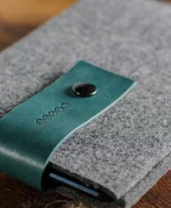 Handmade iPad mini Felt Case: Grey Wool Felt Green Leather