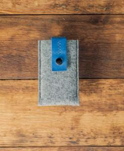 iPhone 5 5S 5C Handmade Felt Case with Blue Leather