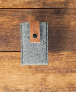 iPhone 5 5S 5C Handmade Felt Case with Brown Leather