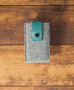 A stylish and all natural iPhone 5 5S 5C Handmade Felt Case with Brown Leather made in Lithuania. A perfect sleeve for your precious iPhone.