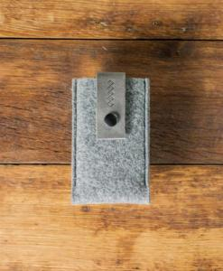 iPhone 5 5S 5C Handmade Felt Case with Grey Leather