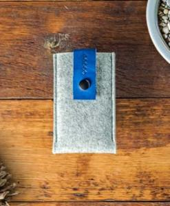 iPhone 5 5S 5C Handmade Light Felt Case with Blue Leather