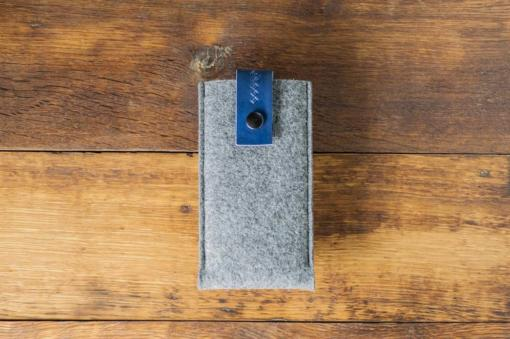 iPhone 6s Handmade Felt Case with Blue Leather