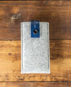 iPhone 6s Handmade Light Felt Case with Blue Leather