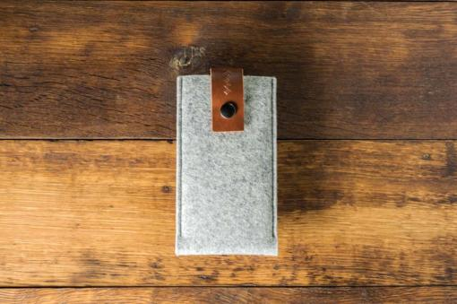 iPhone 6s Handmade Light Felt Case with Brown Leather