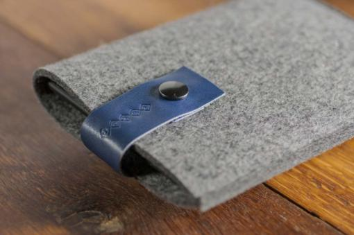 Kindle Handmade Felt Case with Blue Leather