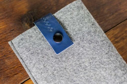 Kindle Handmade Light Felt Case with Blue Leather