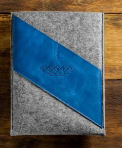 Macbook Air 11 Handmade Dark Felt Case with Blue Leather