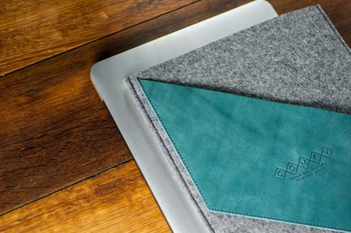 macbook-proMacbook Pro 13 Handmade Dark Felt Case with Green Leather-air-felt-green-italian-leather-case-sleve-pouch-10