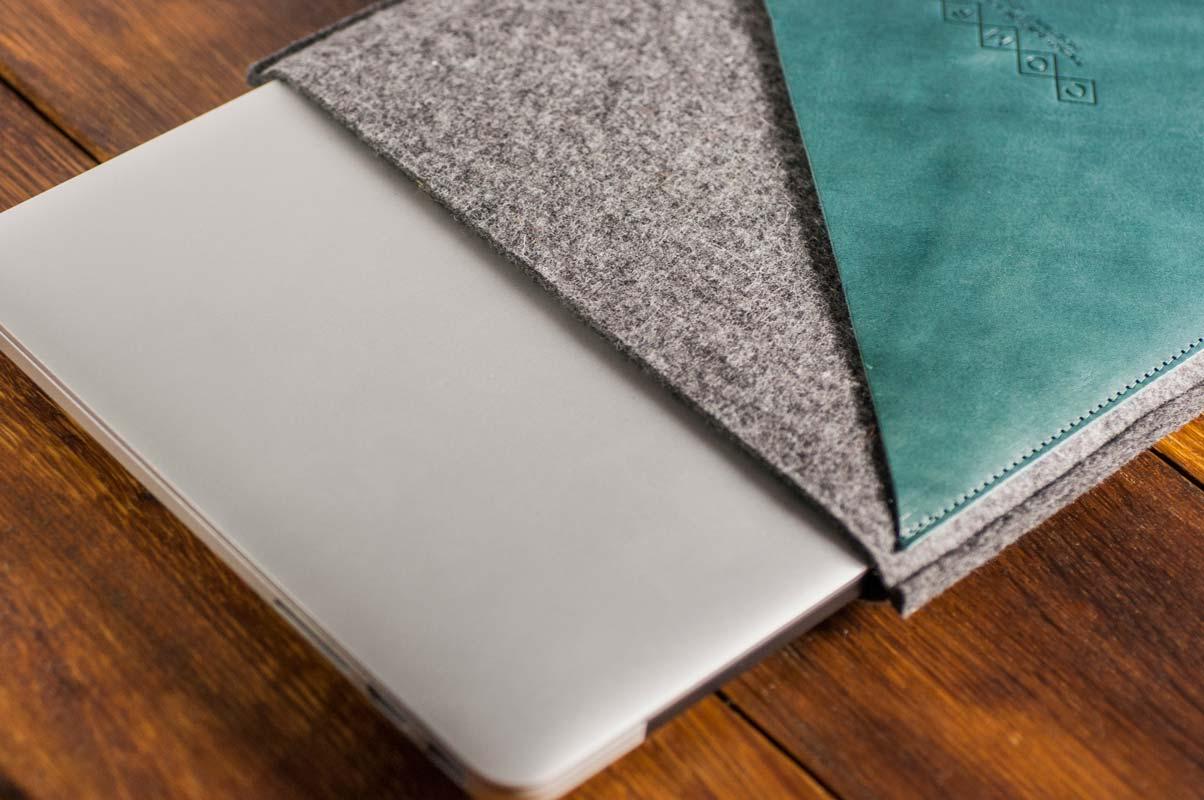 Macbook Pro 13 Handmade Dark Felt Case With Green Leather Grey 3