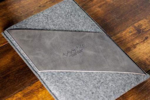 Macbook Air 11 Handmade Dark Felt Case with Grey Leather
