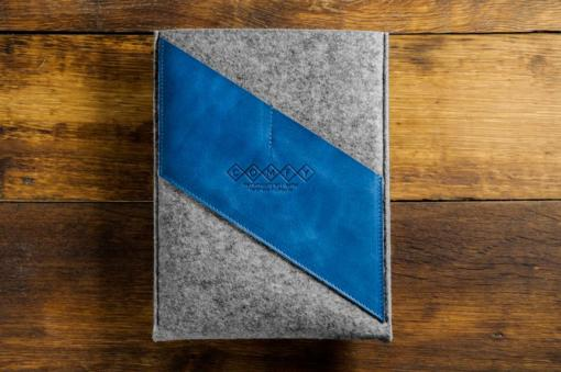 Macbook Air 13 Handmade Dark Felt Case with Blue Leather