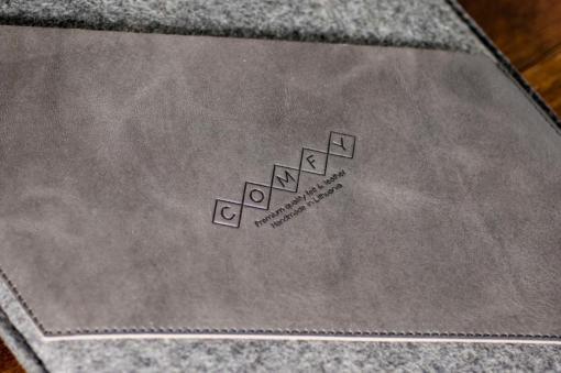 Macbook Air 13 Handmade Dark Felt Case with Grey Leather
