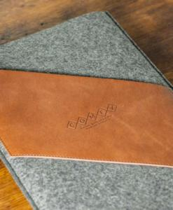 Macbook Pro 13 Handmade Dark Felt Case with Brown Leather